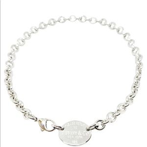 Silver Return to Tiffany Oval Tag Necklace